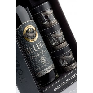 """Beluga"" - Gold Line, in leather box with 3 glasses 0.7L"